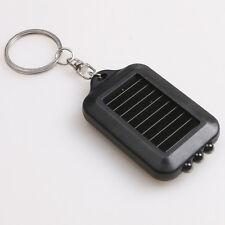 Mini Solar Power Panel 3 LED Flashlight Light Keychain Keyring Torch Wo-a