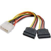 5inch 4 Pin 4-Pin Molex to 15 Pin 2 SATA Power Y Splitter Cable Wire Cord
