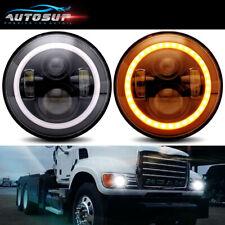 "For Mack Granite Trucks V713 Pair 7"" LED Headlights Hi/Lo w/Amber Turn Signal"