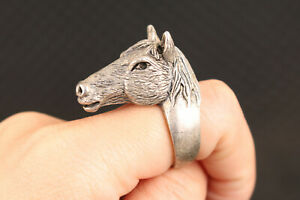 Rare chinese old tibet silver handmade horse ring statue figure collectable