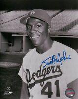 Sweet Lou Johnson Signed 8X10 Photo Autograph Dodgers B/W Blue Ink Auto w/COA