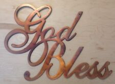 God Bless Wall Art Hanging in Rustic Copper Patina