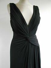 Frank Usher black evening dress asymmetric design long deep v & low back UK14