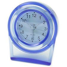 Reisewecker Blau Transparent Quarz Uhr Wecker Analog Reisen Alarm Tischuhr Hotel