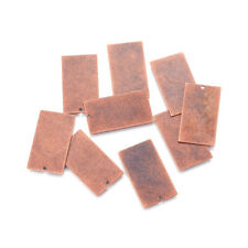 10pcs Brass Tag Pendants Rectangle Stamping Blanks Charms Red Copper Craft 32mm