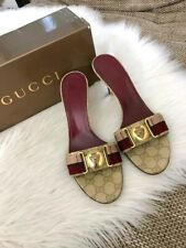 Gucci Canvas Red Beige Gold Guccissima Hysteria Slides Mules Sandals Heels 38