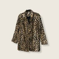 Chico's Animal Print Button Up Jacket Women 2 Coat Pockets 12/14 Lined Calf Hair