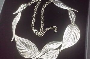 Statement Oversize Chunky Large Silver Tribal Crystal Leaf Feather Bib Necklace