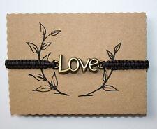 Love antik Bronzefarben Liebe Glücks Makramee Armband Braun Verstellbar 25 cm