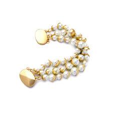 Bracelet Doré Multi Trois Rang Perle Magnétique Retro Class Mariage CT 4