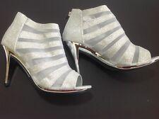 Large Size Women's Silver Glitter Mesh Ankle Shoe Boots UK 11 PLUS SIZES