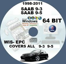 SAAB 9-3 9-5 1998-TO-2011 WIS- EPC WORKSHOP REPAIR SERVICE MANUAL CD 64 BIT PC