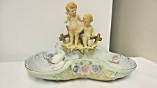 Vintage Norleans Japan marked Elegant Cupid & Shell Vase/Bowl Combination-Goose