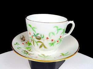 "CHARLES FIELD HAVILAND LIMOGES ARTIST SIGNED ASH TREE 2.75"" CUP & SAUCER 1876-"