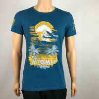 Grunt Style FLY ATOMIC AIRLINES Turquoise T-Shirt US Military Flag Womens XXL