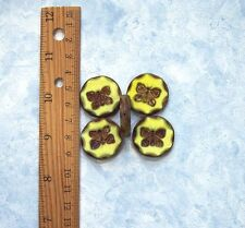2 pcs. 26mm Yellow Butterfly Picasso Chunky Table Cut Coin Czech Glass Beads