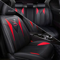 Microfiber Leather Punch Seat Cover Front + Rear Full Set Black & Red Car SUV
