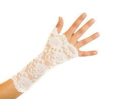 Women's Delicate Floral Lace Short Fingerless Gloves Cream For Prom Wedding New