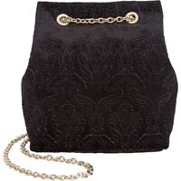 INC International Concepts Black Velour Bucket Handbag Chain Strap Shoulder Bag