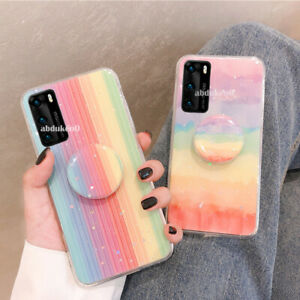 Rainbow Phone Case Cover For Huawei P20 P30 Lite Y6 7 P Smart 2019 Socket Holder