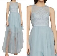 NWT BCBG MAXAZRIA Riese Embroidered high low Tulle Gown Dress Light Blue Size 2