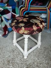 Bar Stool,foot Stool,refurbished In Laura Ashley Paint & a floral Fabric