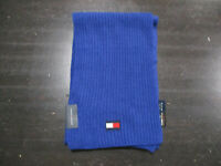 NEW Tommy Hilfiger Scarf Blue Red Flag Logo Knit 72 Inches Winter $55