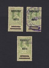 India 1912 Broker's Note overprints on Special Adhesives 3v