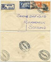 GOLD COAST WINNEBA 5 REGISTERED OVAL CANCELS to KILMARNOCK SCOTLAND 1954