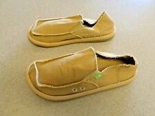 "Sanuk ""Sidewalk Surfer"" Tan Cloth Slip On Loafers. Men's 10"
