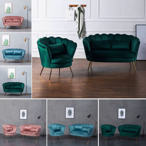 Velvet Armchair Lotus Love Seat Shell Tub Chair 1/2 Seater Sofa Couch Metal Legs