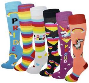 LGBT PRIDE Rainbow , Unicorn , Hearts Fancy Design Knee High Socks