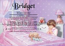 Peronsalised Gift - First Name Meaning Certificate Girl Birthday, Occasion
