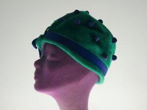 Vintage Hut Hat Cloche Filz Plüsch Felt green grün Bommeln Musketeer Austria