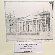 Don Swann Original U of Md. Medical School Davidge Etching Signed Ltd. Ed.