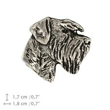 Schnauzer uncropped head, silver covered pin, high quality Art Dog USA