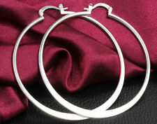 """Awesome New Sterling Silver Plated Smooth & Shiny Flat Round 2"""" Hoop Earrings"""
