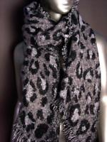 EXOTIC Soft Black Gray Leopard Print Crochet Knit Long Asymmetric Wrap Scarf