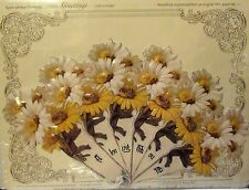 Victorian Embossed Fan Greeting Card Daisies 'A Loving Thought' Heirloom Frame