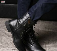 Handmade Mens Military Leather Boot, men combat boots, Men Ankle Boots Black