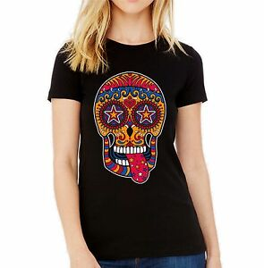Velocitee Ladies T-Shirt Cheeky Sugar Skull Colourful Day Of The Dead V181
