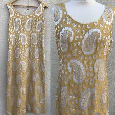 VINTAGE 50's 60's GOLD SILVER LAME METALLIC COLUMN MAXI DRESS 16