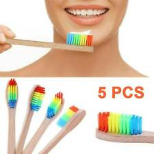 5pcs Rainbow Bamboo Toothbrush Cleaner Wooden Handle Oral Heal Care Soft Bristle