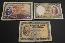 1926 - 1927 - 1931 SPAIN 25+25+ 50 PESETAS LOTE 3 BANKNOTE DIFERENTES DIFFERENT,