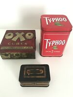 Vintage OXO Cubes Tin + Vintage Typhoo Tin + Vintage Cash Box Tin  Bundle