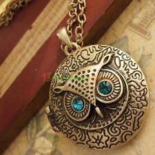 Beautiful Antiqued Retro Brass Owl Locket Long Pendant Necklace Blue Zircon Eye