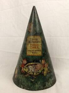 1930's Lucie Attwell Fairy Tree Biscuit Tin Plate Money Box