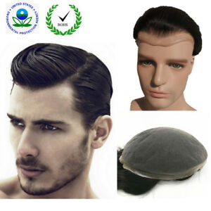 """human hair Mens toupee hair system replacement short wig hairpieces 10"""" X 8"""" NLW"""