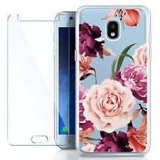 Samsung Galaxy J3 2018 Case Silicone + Screen Protector HD Clear w/Floral Design