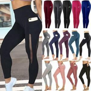 Women Yoga Pants Pocket High Waist Leggings Push Up Sports Jumpsuit Trousers Gym